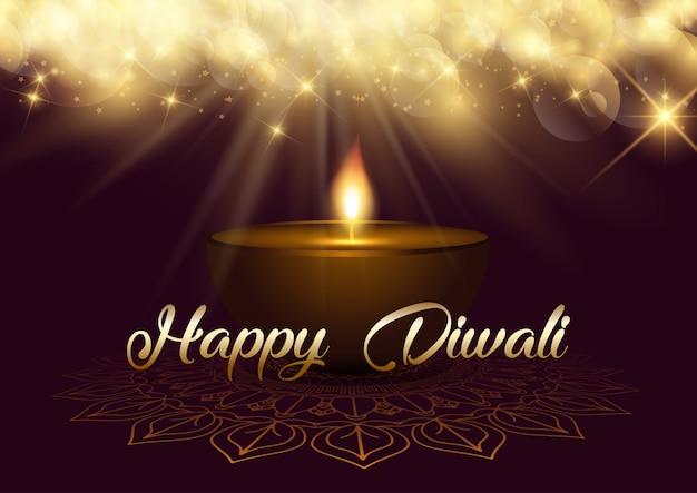 Priorità bassa di diwali con le luci del bokeh e la lampada a olio Vettore gratuito