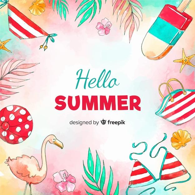 Priorità bassa di estate dell'acquerello ciao Vettore gratuito