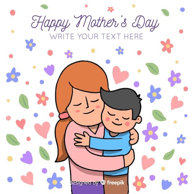 Priorità bassa di festa della mamma di hug disegnato a mano Vettore gratuito