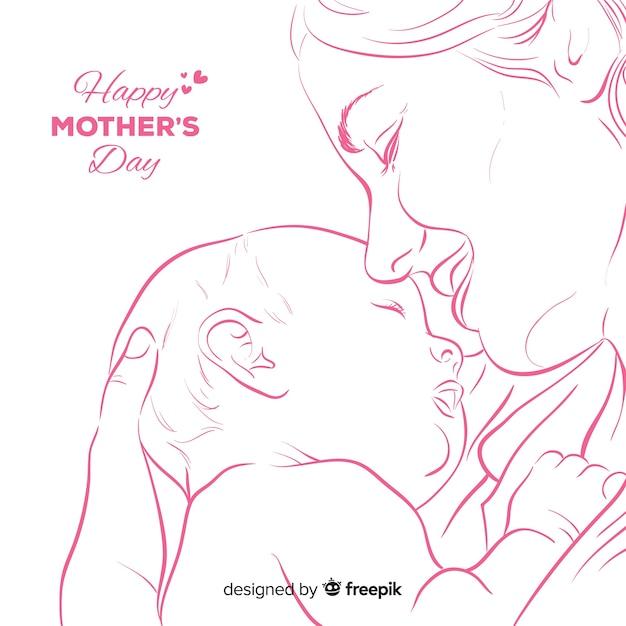 Priorità bassa di festa della mamma disegnata a mano Vettore gratuito