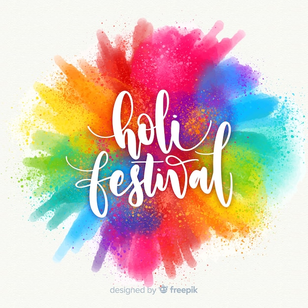 Priorità bassa di festival di acquerello holi Vettore gratuito