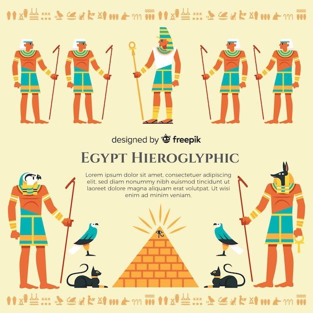 Priorità bassa di geroglifici egiziani disegnati a mano Vettore gratuito