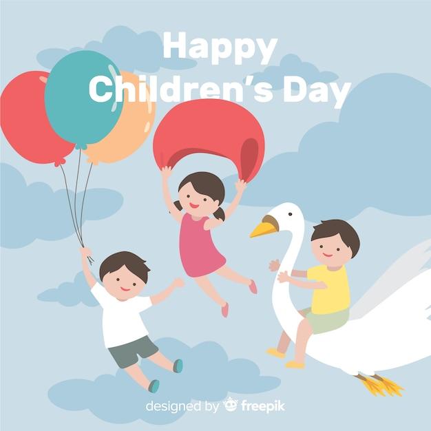 Priorità bassa di giorno dei bambini dei bambini di volo Vettore gratuito