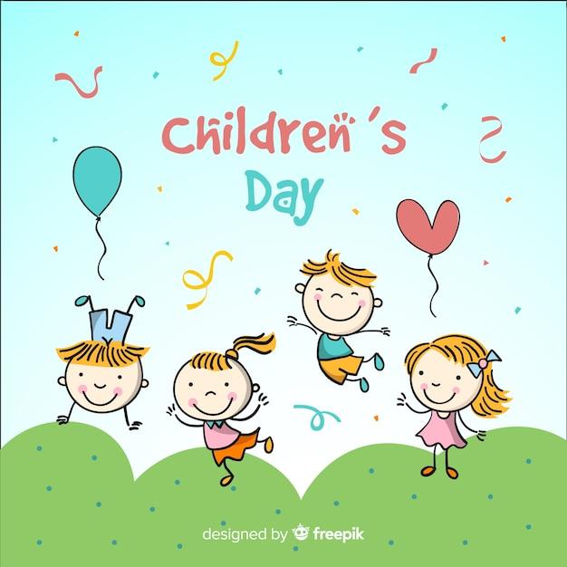 Priorità bassa di giorno dei bambini disegnati a mano per bambini Vettore gratuito