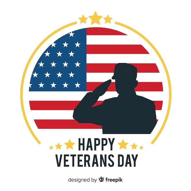 Priorità bassa di giorno dei veterani con noi elementi della bandiera Vettore gratuito