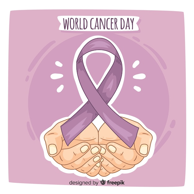 Priorità bassa di giorno del cancro del mondo disegnato a mano Vettore gratuito