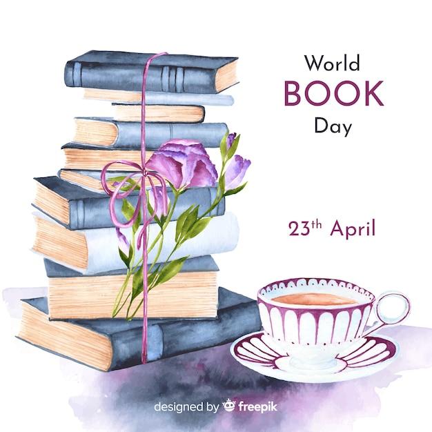Priorità bassa di giorno del libro di mondo dell'acquerello Vettore gratuito