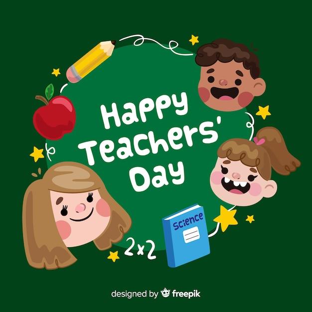 Priorità bassa di giorno dell'insegnante con i bambini in design piatto Vettore gratuito