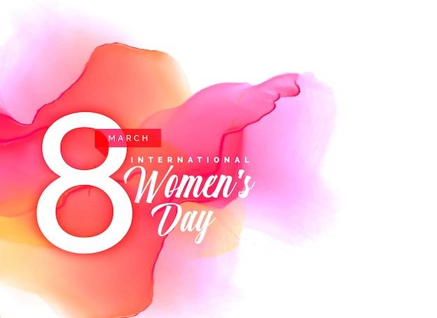 Priorità bassa di giorno delle donne beauful con effetto acquerello vibrante Vettore gratuito