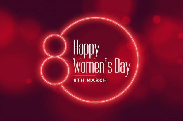 Priorità bassa di giorno delle donne felici stile neon Vettore gratuito