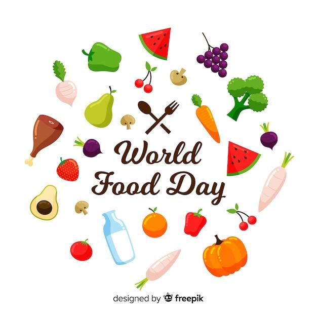 Priorità bassa di giorno di cibo del mondo moderno Vettore gratuito