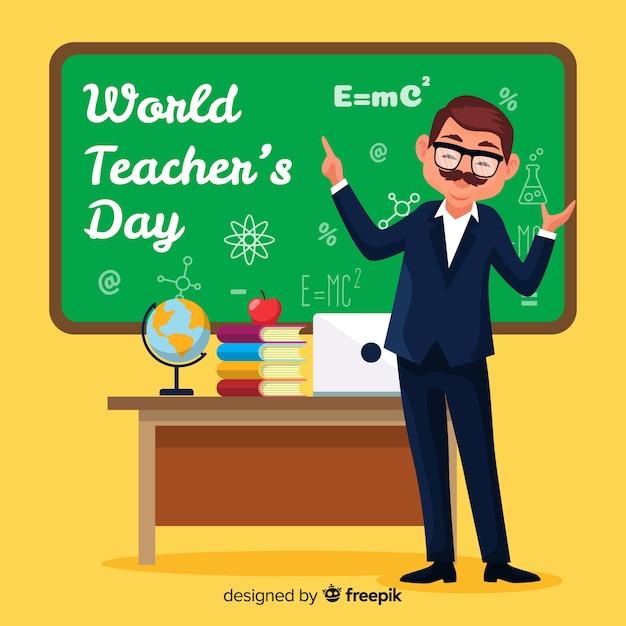 Priorità bassa di giorno di insegnante di design piatto mondo Vettore gratuito