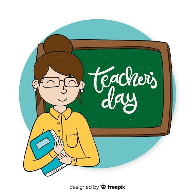 Priorità bassa di giorno di insegnante di mondo disegnato a mano Vettore gratuito