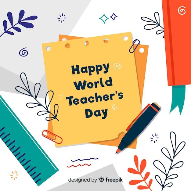 Priorità bassa di giorno di insegnanti design piatto Vettore gratuito