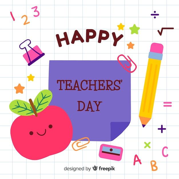 Priorità bassa di giorno di insegnanti disegnati a mano Vettore gratuito