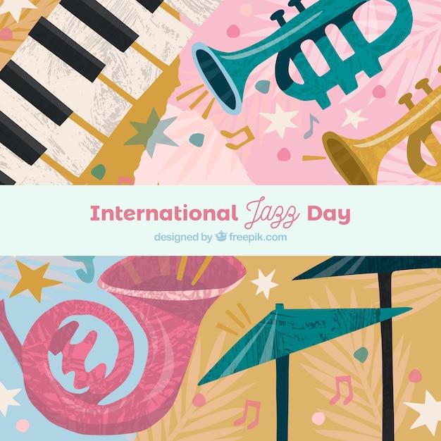 Priorità bassa di giorno di jazz internazionale con strumenti diversi Vettore gratuito