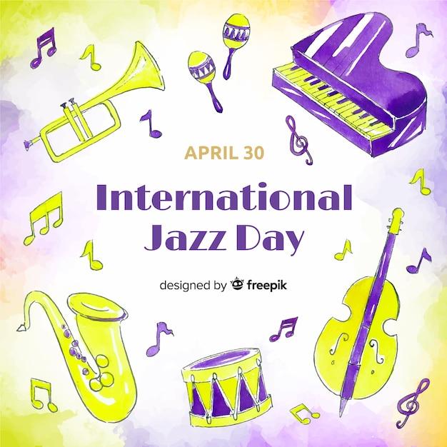 Priorità bassa di giorno di jazz internazionale dell'acquerello Vettore gratuito