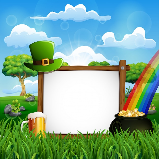 Priorità bassa di giorno di san patrizio con un segno di legno, cappello verde e monete d'oro in un calderone Vettore Premium