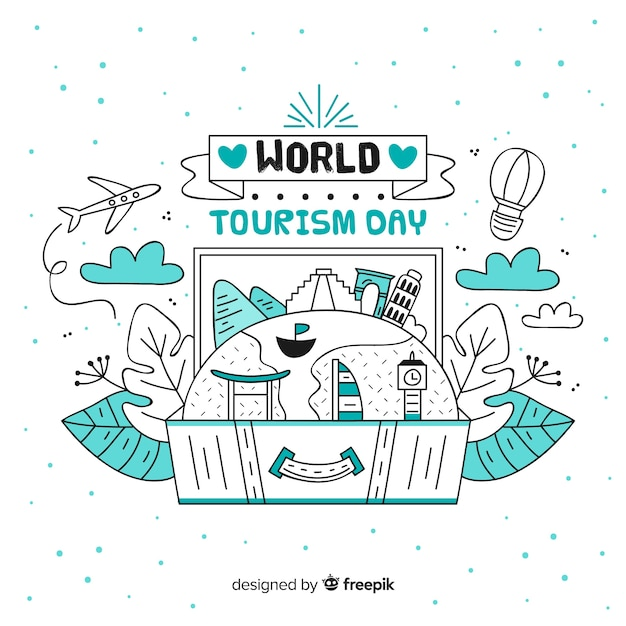 Priorità bassa di giorno di turismo disegnato a mano Vettore gratuito