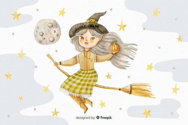 Priorità bassa di halloween dell'acquerello con la strega sulla scopa Vettore gratuito