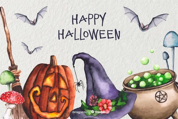 Priorità bassa di halloween di stregoneria dell'acquerello Vettore gratuito