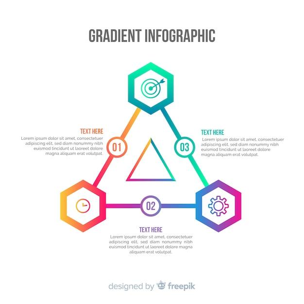 Priorità bassa di infografica piramide di gradiente Vettore gratuito
