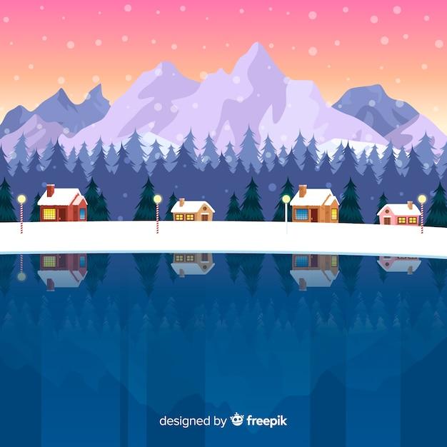 Priorità bassa di inverno del lago congelato Vettore gratuito