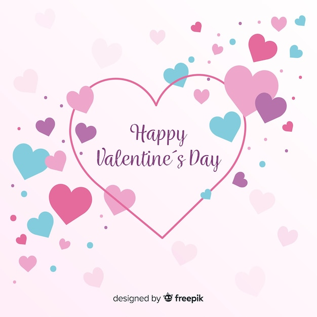 Priorità bassa di san valentino cuori colorati Vettore gratuito