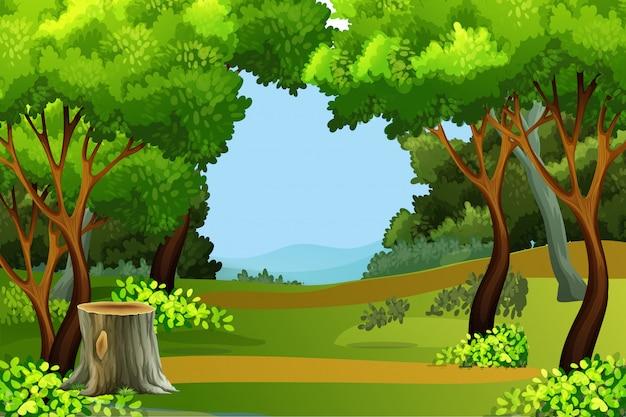 Priorità bassa di scena della foresta verde Vettore Premium