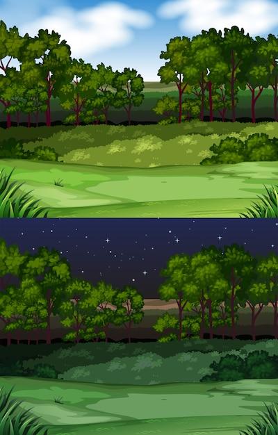 Priorità bassa di scena della natura con campo e alberi Vettore gratuito