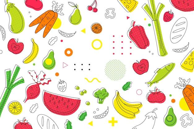 Priorità bassa di semitono di frutta e verdura Vettore gratuito