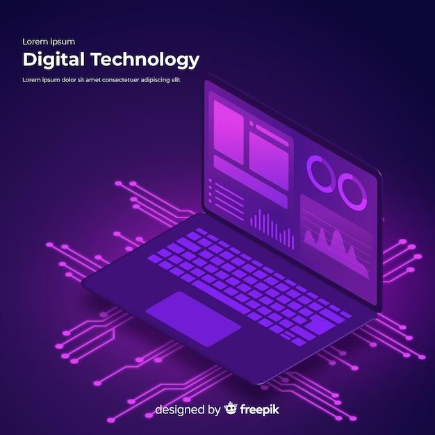 Priorità bassa di tecnologia del computer portatile isometrica gradiente Vettore gratuito
