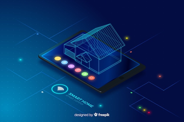 Priorità bassa di tecnologia isometrica casa gradiente intelligente Vettore gratuito