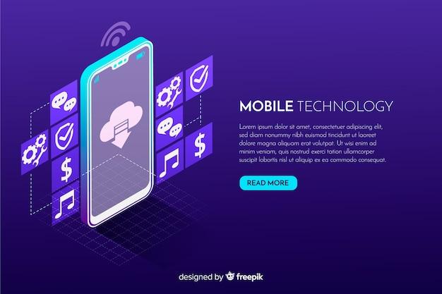 Priorità bassa di tecnologia isometrica dello smartphone di gradiente Vettore gratuito