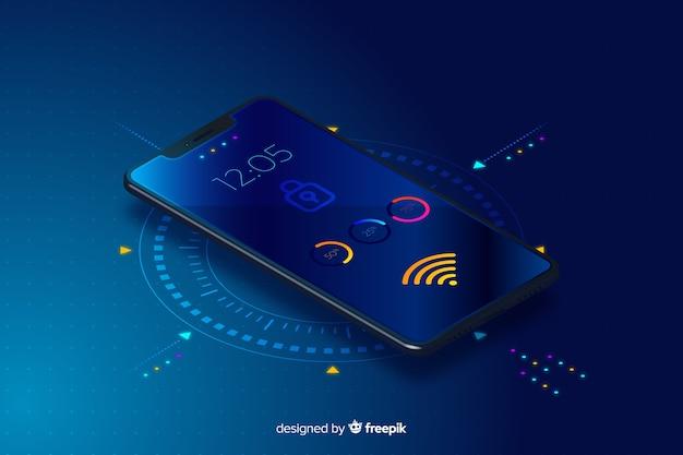 Priorità bassa di tecnologia isometrica mobile gradiente Vettore gratuito