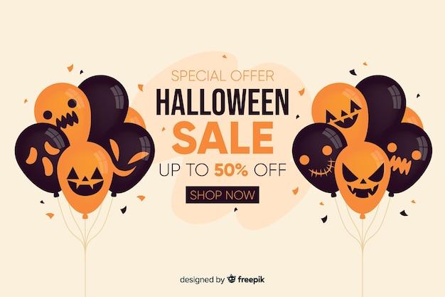 Priorità bassa di vendita di halloween con palloncini in design piatto Vettore gratuito