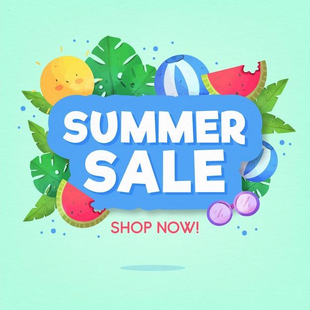 Priorità bassa di vendita estate dell'acquerello Vettore gratuito