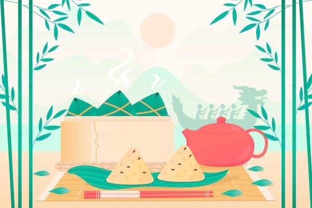 Priorità bassa di zongzi barca drago disegnato a mano Vettore gratuito