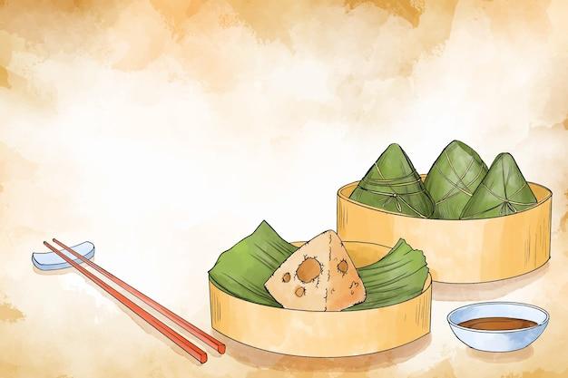 Priorità bassa di zongzi della barca del drago dell'acquerello Vettore gratuito
