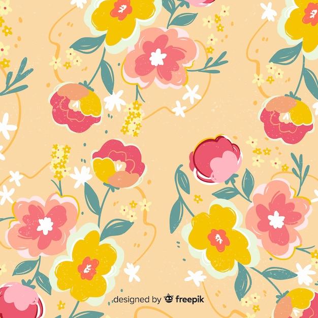 Priorità bassa dipinta a mano variopinta dei fiori Vettore gratuito