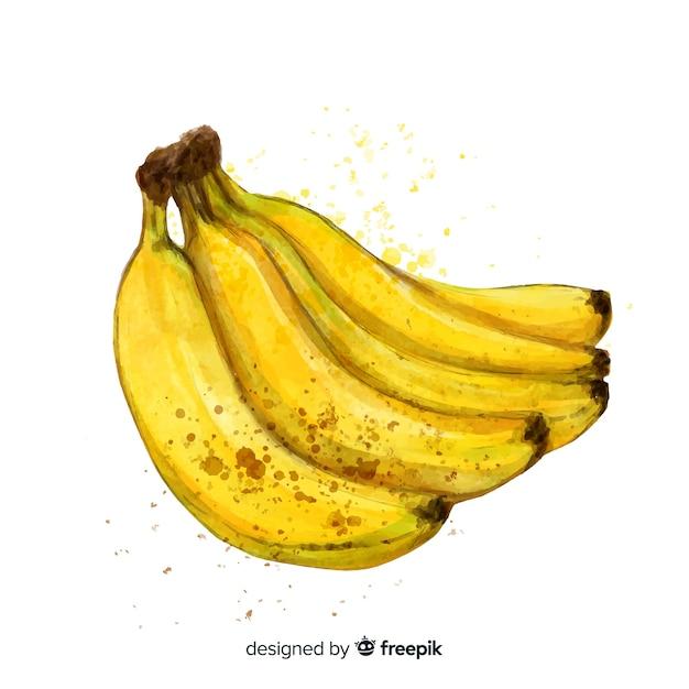 Priorità bassa disegnata a mano della banana dell'acquerello Vettore gratuito