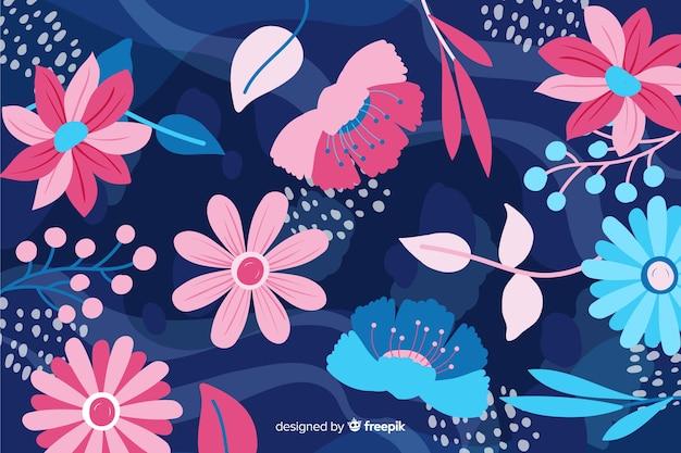 Priorità bassa disegnata a mano di bei fiori astratti Vettore gratuito