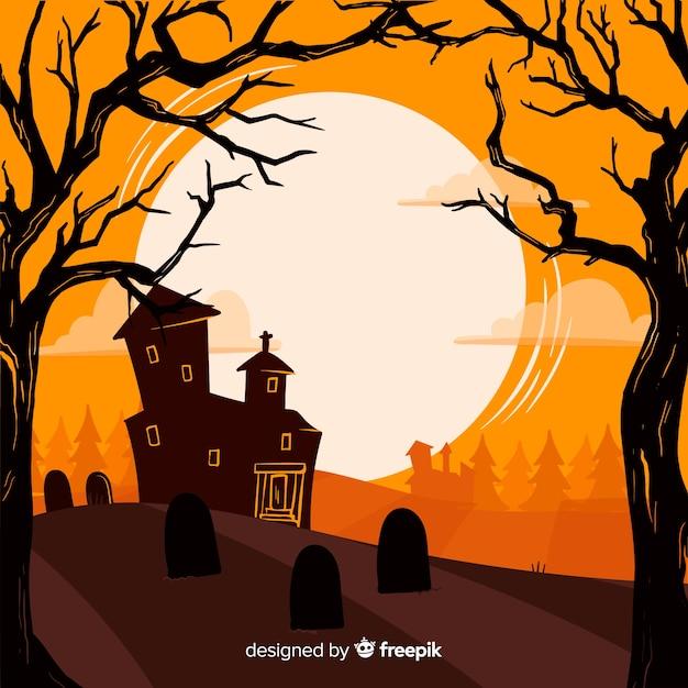 Priorità bassa disegnata a mano di halloween di raccapricciante Vettore gratuito