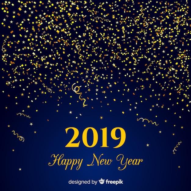 Priorità bassa dorata di nuovo anno dei coriandoli Vettore gratuito
