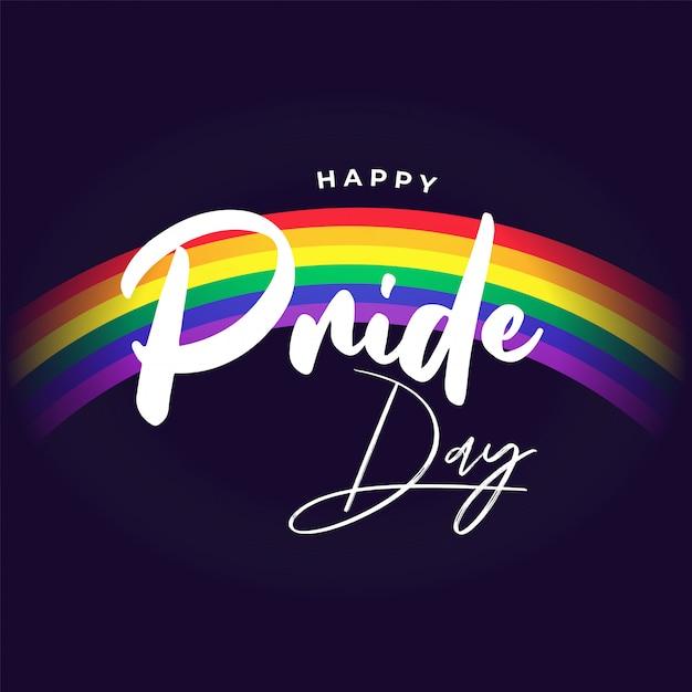 Priorità bassa felice di giorno di orgoglio con l'arcobaleno su priorità bassa, simbolo di libertà. Vettore Premium
