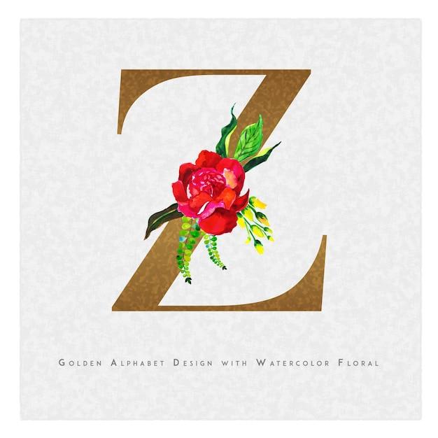 Priorità bassa floreale dell'acquerello della lettera z dorata Vettore Premium