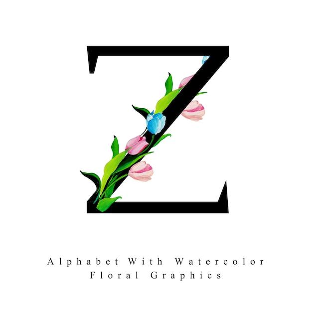 Priorità bassa floreale dell'acquerello della lettera z. Vettore Premium