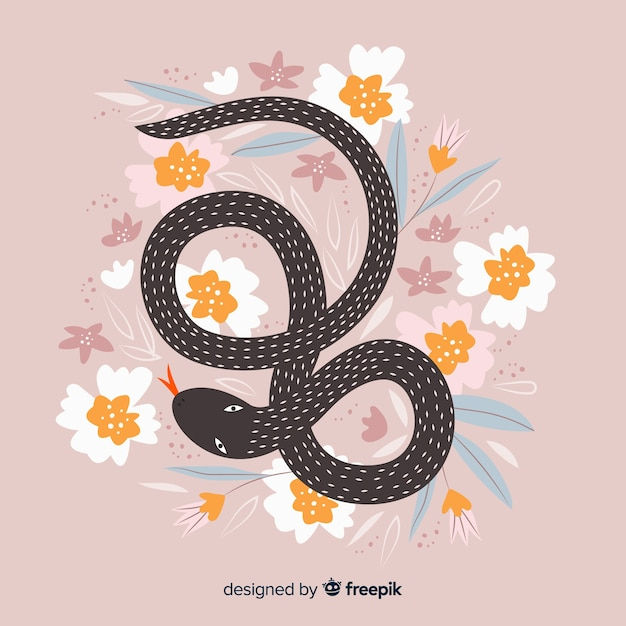 Priorità bassa floreale disegnata a mano del serpente Vettore gratuito