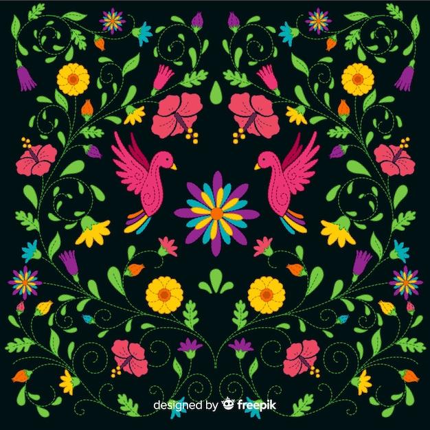 Priorità bassa floreale messicana variopinta del ricamo Vettore gratuito