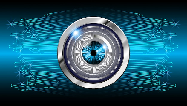 Priorità bassa futura di tecnologia del circuito cyber dell'occhio azzurro Vettore Premium
